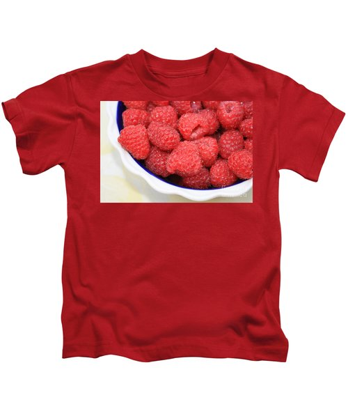 Raspberries In Polish Pottery Bowl Kids T-Shirt by Carol Groenen