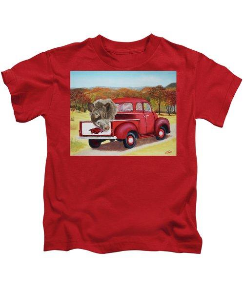 Ridin' With Razorbacks 2 Kids T-Shirt by Belinda Nagy
