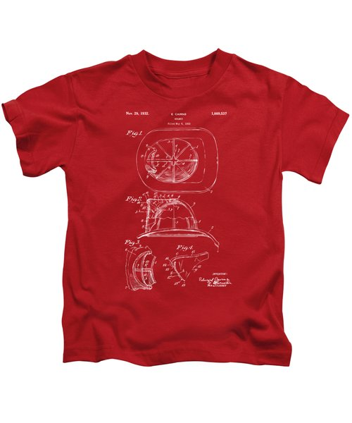 1932 Fireman Helmet Artwork Red Kids T-Shirt by Nikki Marie Smith