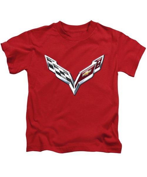 Chevrolet Corvette - 3d Badge On Red Kids T-Shirt by Serge Averbukh