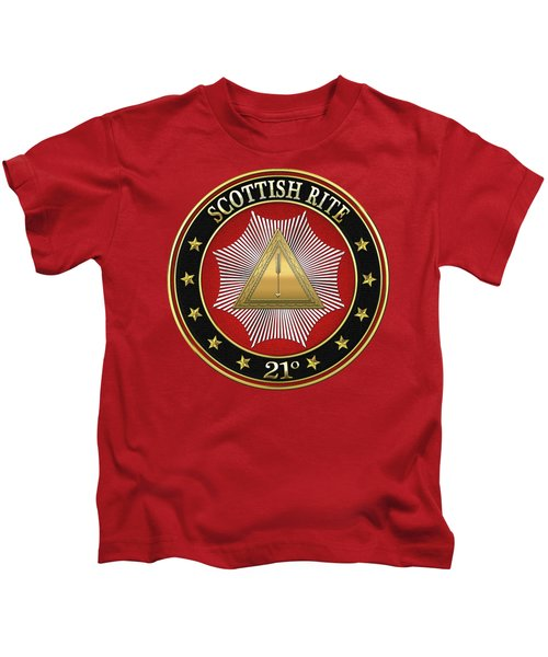 21st Degree - Noachite Or Prussian Knight Jewel On Red Leather Kids T-Shirt by Serge Averbukh