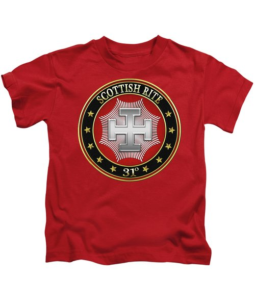 31st Degree - Inspector Inquisitor Jewel On Red Leather Kids T-Shirt by Serge Averbukh
