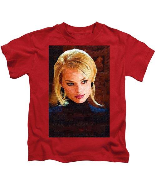 Margot Robbie Painting Kids T-Shirt by Best Actors