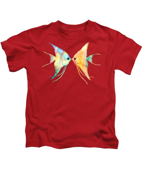 Angelfish Kissing Kids T-Shirt by Hailey E Herrera