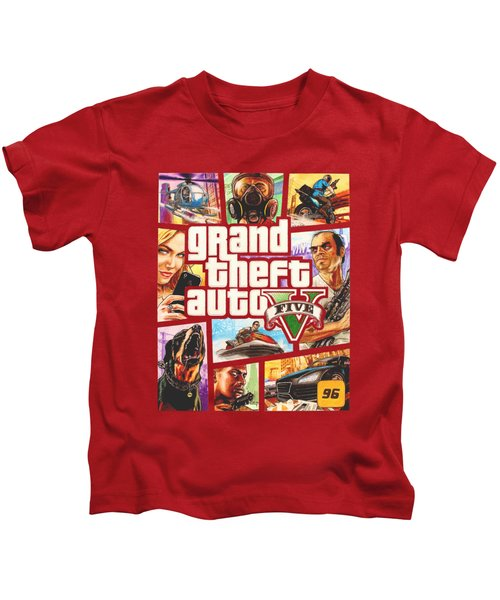 Gta V Box Art Cover Colored Drawing Kids T-Shirt by Nikolai Jonasson