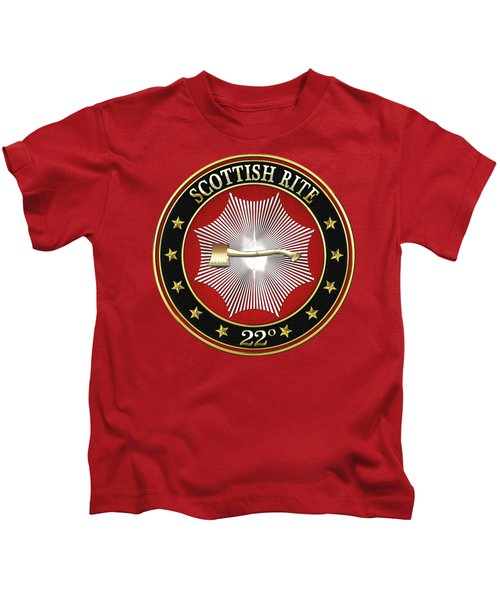 22nd Degree - Knight Of The Royal Axe Jewel On Red Leather Kids T-Shirt by Serge Averbukh
