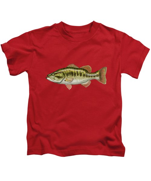 Largemouth Bass On Red Leather Kids T-Shirt by Serge Averbukh