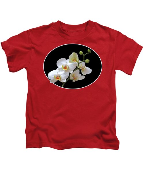 Orchids On Black And Red Kids T-Shirt by Gill Billington