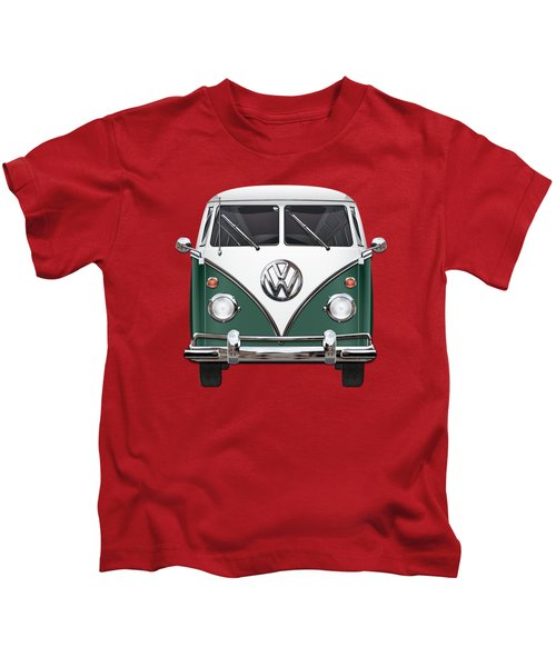 Volkswagen Type 2 - Green And White Volkswagen T 1 Samba Bus Over Red Canvas  Kids T-Shirt by Serge Averbukh