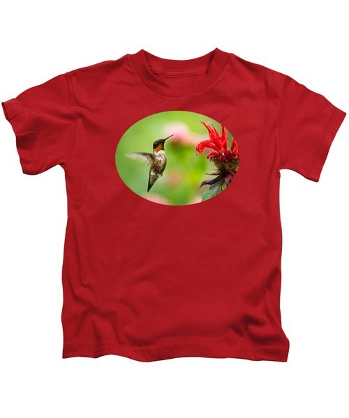 Male Ruby-throated Hummingbird Hovering Near Flowers Kids T-Shirt by Christina Rollo