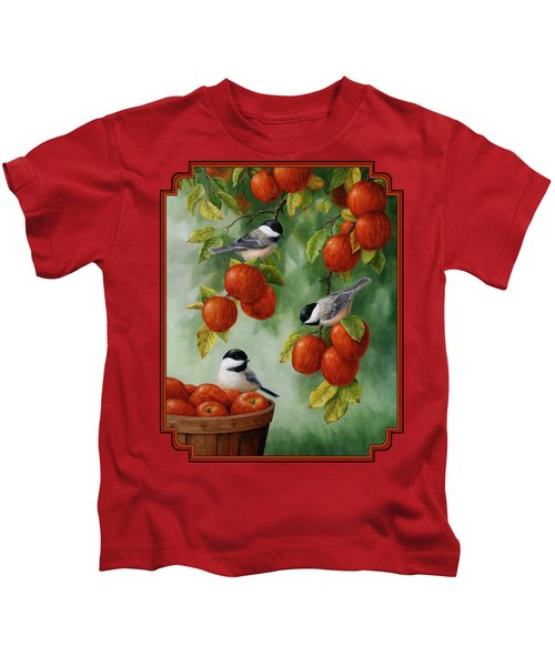 Bird Painting - Apple Harvest Chickadees Kids T-Shirt by Crista Forest