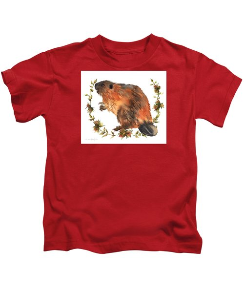 Beaver Painting Kids T-Shirt by Alison Fennell