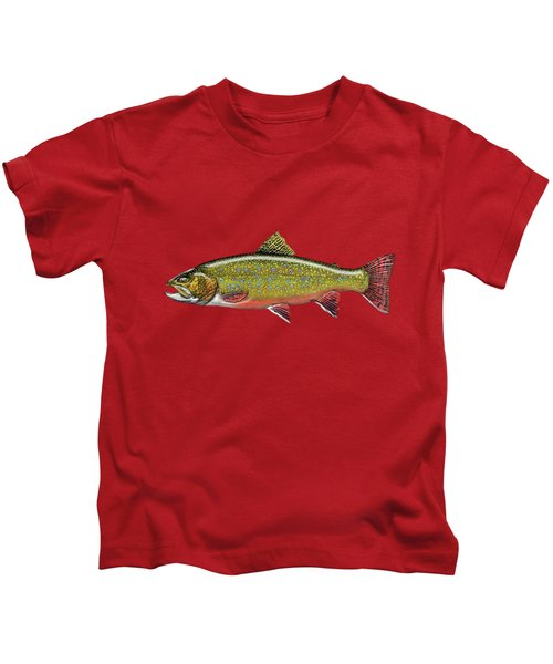 Brook Trout On Red Leather Kids T-Shirt by Serge Averbukh