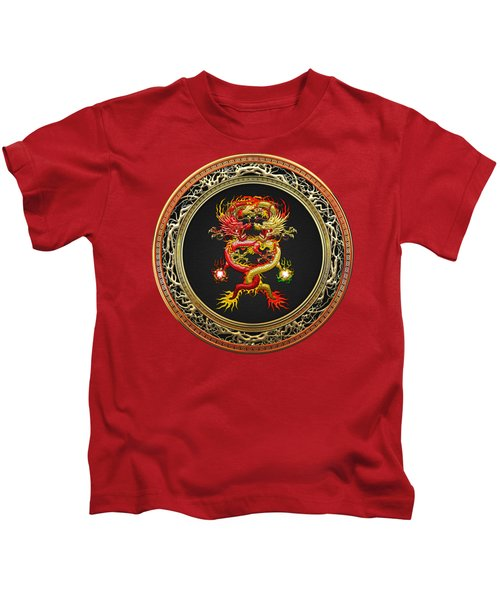 Brotherhood Of The Snake - The Red And The Yellow Dragons On Red Velvet Kids T-Shirt by Serge Averbukh