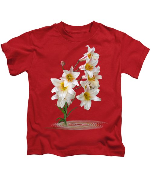 Cascade Of Lilies On Black Kids T-Shirt by Gill Billington