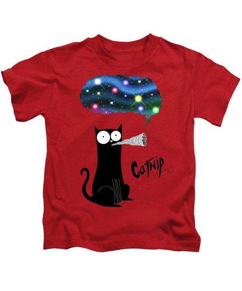 Catnip  Kids T-Shirt by Andrew Hitchen