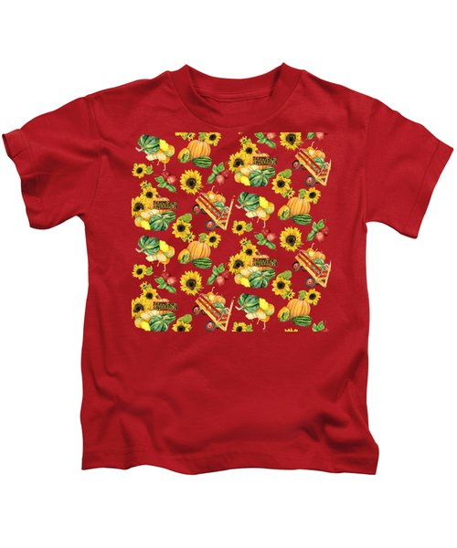 Celebrate Abundance Harvest Half Drop Repeat Kids T-Shirt by Audrey Jeanne Roberts