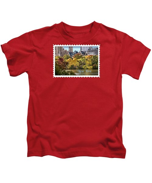 Central Park Lake In Fall Text New York Kids T-Shirt by Elaine Plesser