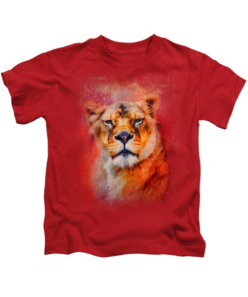Colorful Expressions Lioness Kids T-Shirt by Jai Johnson