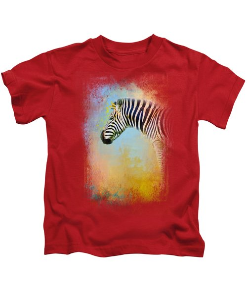 Colorful Expressions Zebra Kids T-Shirt by Jai Johnson