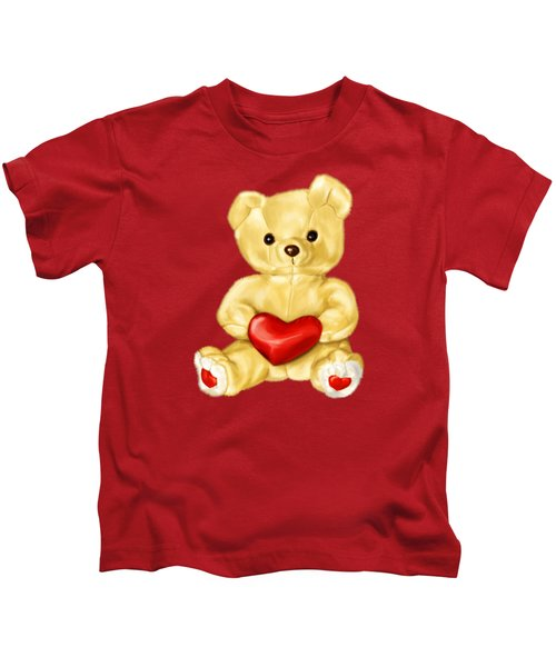 Cute Teddy Bear Hypnotist Kids T-Shirt by Boriana Giormova