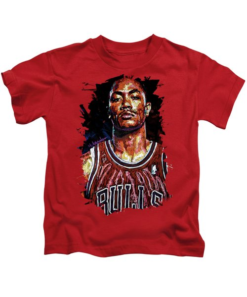 Derrick Rose-2 Kids T-Shirt by Maria Arango