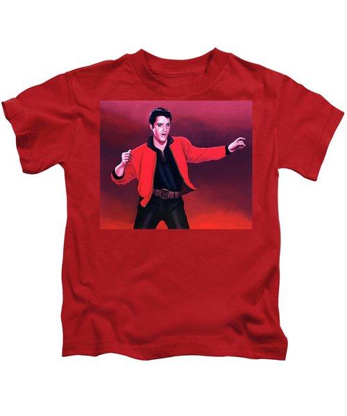 Elvis Presley 4 Painting Kids T-Shirt by Paul Meijering