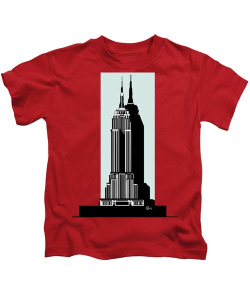 Empire State Building Deco Minimal Kids T-Shirt by Cecely Bloom