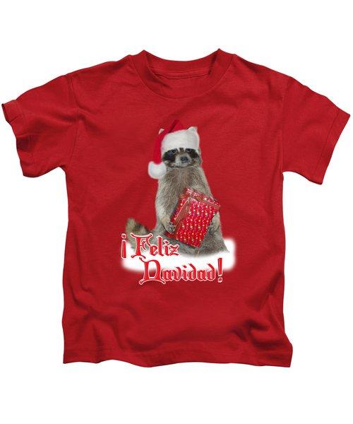 Feliz Navidad - Raccoon Kids T-Shirt by Gravityx9  Designs