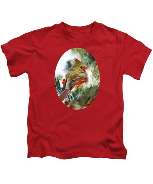 Female Northern Cardinal Kids T-Shirt by Christina Rollo