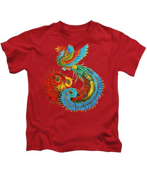 Fenghuang Chinese Phoenix Kids T-Shirt by Rebecca Wang