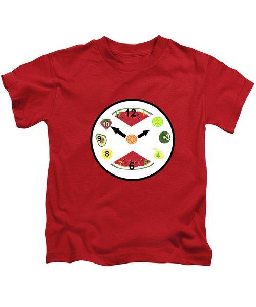Food Clock Kids T-Shirt by Kathleen Sartoris