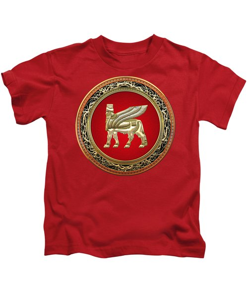 Golden Babylonian Winged Bull  Kids T-Shirt by Serge Averbukh