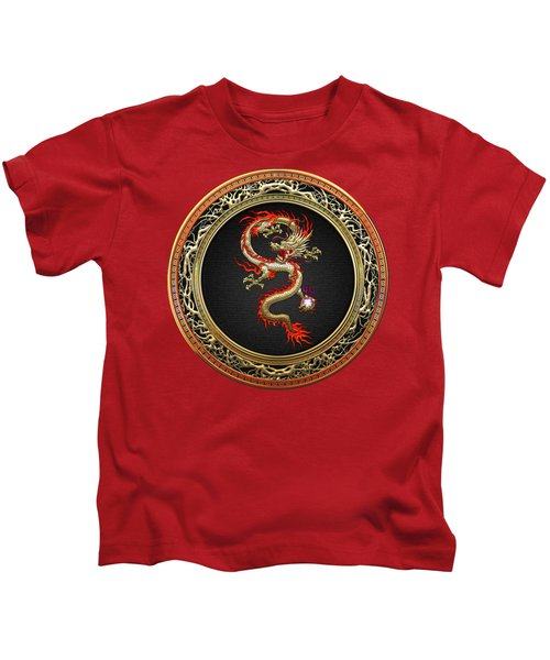 Golden Chinese Dragon Fucanglong Kids T-Shirt by Serge Averbukh