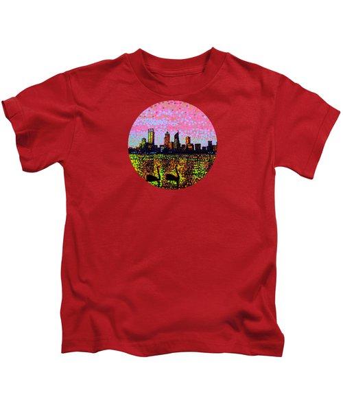 Golden Skyline Perth Kids T-Shirt by Alan Hogan