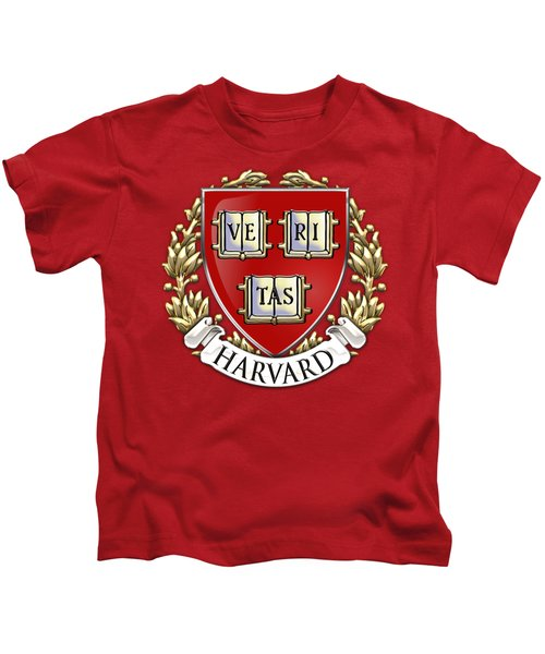 Harvard University Seal - Coat Of Arms Over Colours Kids T-Shirt by Serge Averbukh