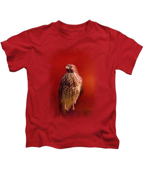Hawk On A Hot Day Kids T-Shirt by Jai Johnson
