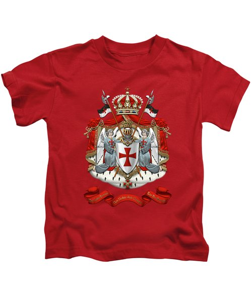 Knights Templar - Coat Of Arms Over Red Velvet Kids T-Shirt by Serge Averbukh