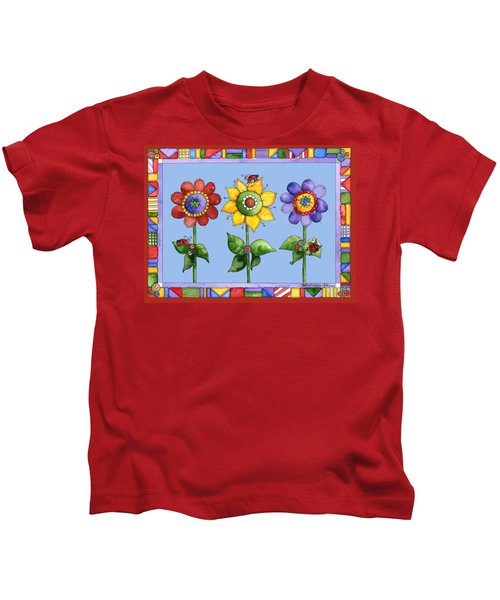 Ladybug Trio Kids T-Shirt by Shelley Wallace Ylst