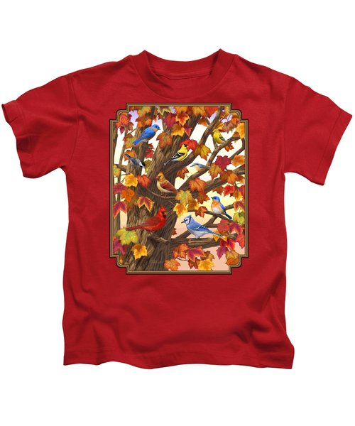 Maple Tree Marvel - Bird Painting Kids T-Shirt by Crista Forest