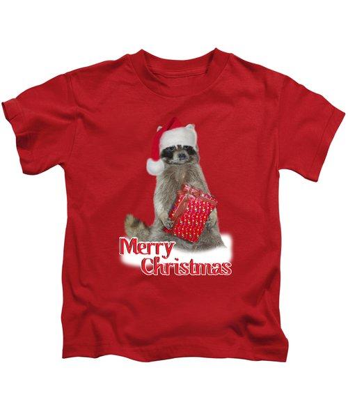Merry Christmas -  Raccoon Kids T-Shirt by Gravityx9 Designs