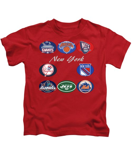 New York Professional Sport Teams Collage  Kids T-Shirt by Movie Poster Prints