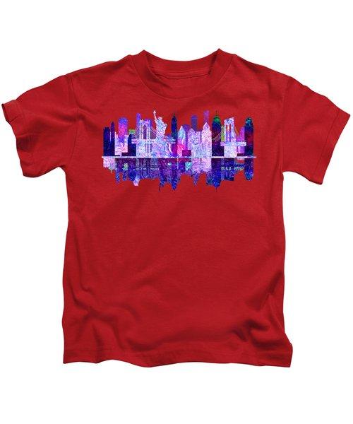 New York Skyline Red Kids T-Shirt by John Groves