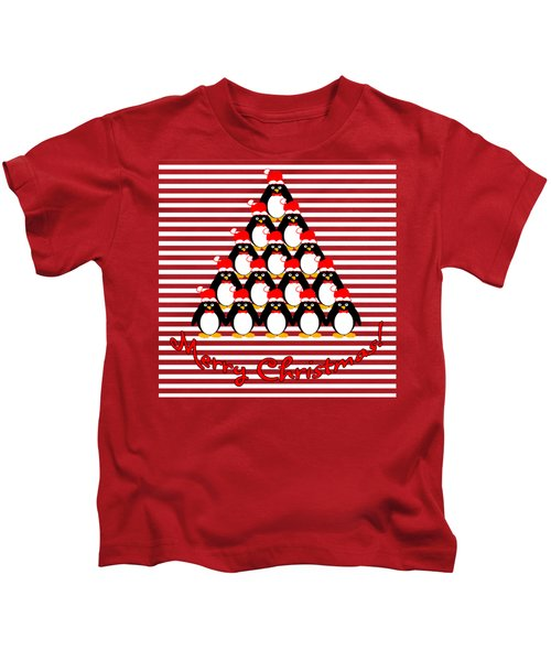 Penguin Christmas Tree N Stripes Kids T-Shirt by Methune Hively