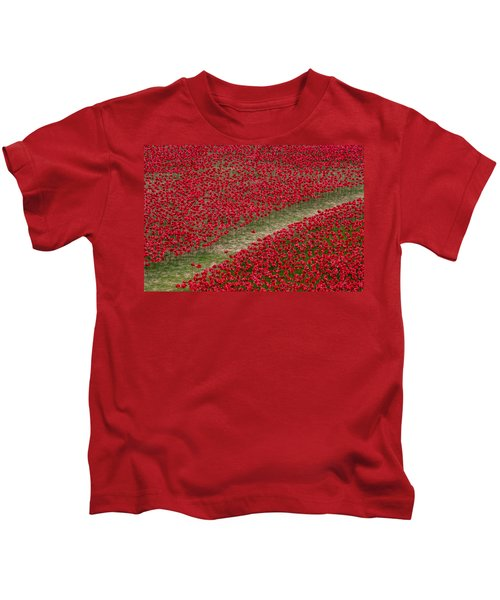 Poppies Of Remembrance Kids T-Shirt by Martin Newman