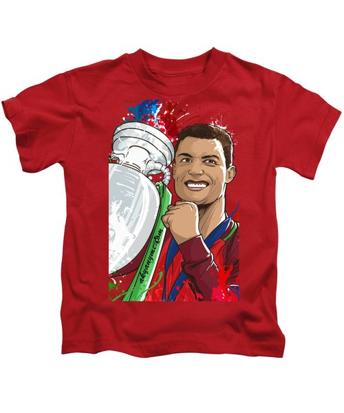 Portugal Campeoes Da Europa Kids T-Shirt by Akyanyme