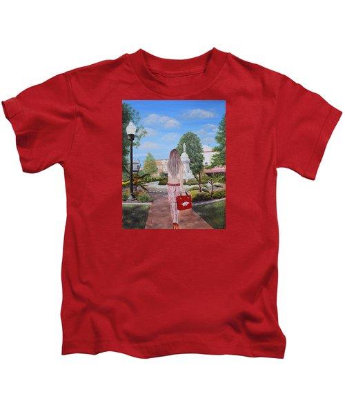 Razorback Swagger At Bentonville Square Kids T-Shirt by Belinda Nagy