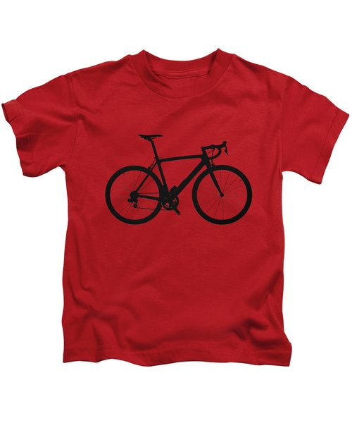 Road Bike Silhouette - Black On Red Canvas Kids T-Shirt by Serge Averbukh