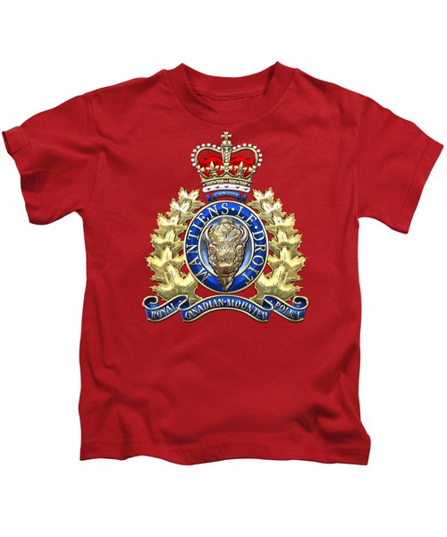 Royal Canadian Mounted Police - Rcmp Badge On Red Leather Kids T-Shirt by Serge Averbukh
