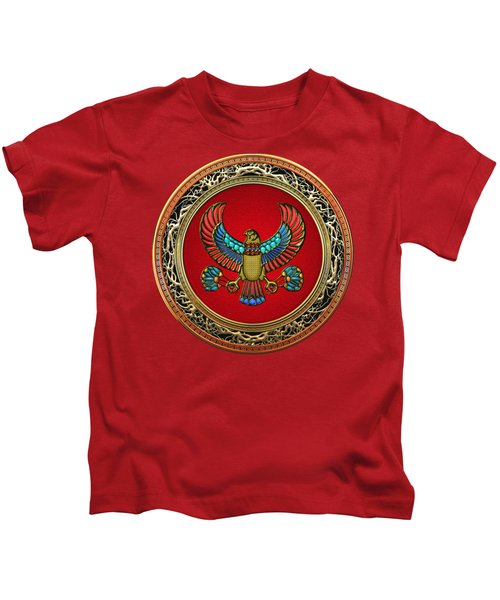 Sacred Egyptian Falcon Kids T-Shirt by Serge Averbukh